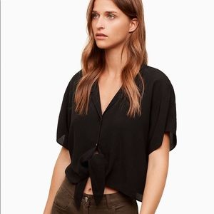Wilfred free tie front button up shirt black